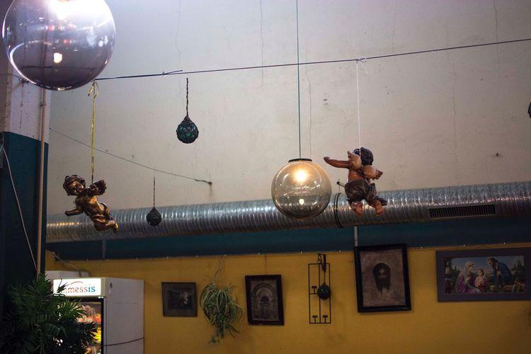 Lighting Equipment Low Angle View Illuminated Hanging Indoors  Night No People