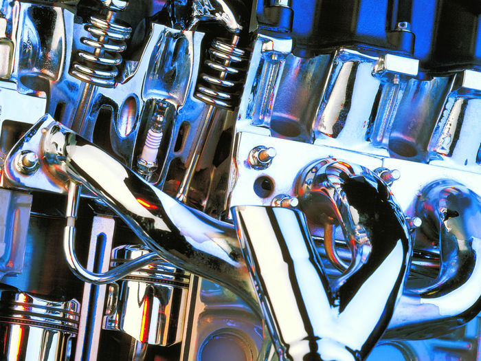 Auto Parts Automotive Chrome Engine Cutaway Engine Engine Valves Exhaust Manifold Motor Engine Pistons Film Photography