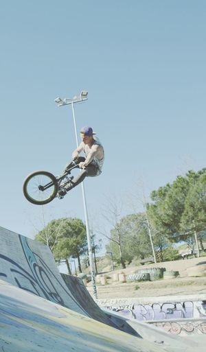 Freestyle Jumping Sport Low Angle View One Person Sky Full Length Mid-air Outdoors Day Exhilaration Playing People Motion One Man Only Young Adult Leisure Activity Freestyle Sports BikerBoy Bikefreestyle Real People Lifestyles Bicycle Bmx Cycling EyeEmNewHere