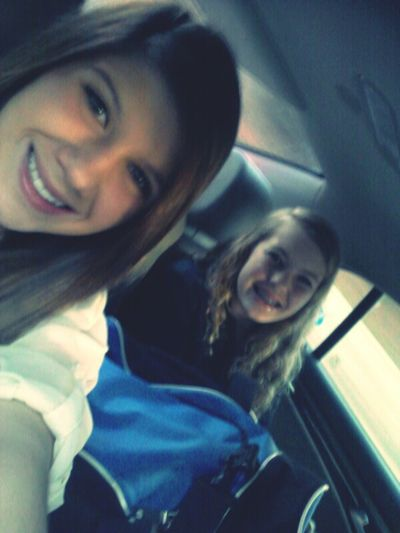 In The Car With Kaleyyy. All Our Bagss In The Car.