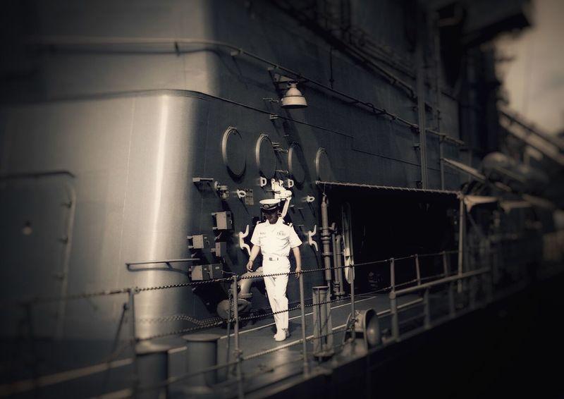護衛艦甲板より⚓️✨ Real People One Person JMSDF 海上自衛隊 Escort Ship Battleship Light And Shadow Reflection EyeEm Best Shots Sea Move On The Ship Eye4photography  Ship
