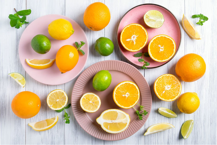 Directly above shot of orange fruits on table