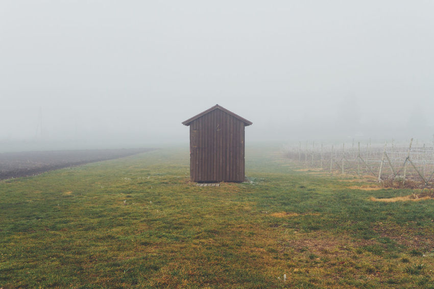 Agriculture Architecture Beauty In Nature Cabin Cold Day Field Fog Foggy Grass House Landscape Nature No People Outdoors Scenics