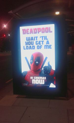 Wait Until They Get A Load Of Me SIGNS: Human Representation WesternScript Illuminated Signboard WaitUntilTheyGetaLoadOfMe Deadpool Deadpoolmovie Deadpoolquotes Wait 'til You Get A Load Of Me Movie Poster Illuminated Signs Cinema Poster Cinema Posters Movie Posters Cinema MOVIE Action Movies At The Flicks Movieposter Sign Signs Signporn Signs_collection Movies Thumbs Up Action Movie SignHunters Western Script