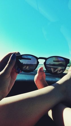 Car Sunglasses Blue Clear Sky Personal Perspective Glasses Travel Inspirational Light