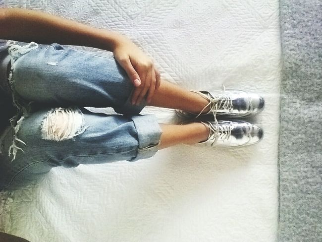 Shoe Footwear High Angle View Human Foot Clasic Casual Clothing Boyfriendjeans Day Rainy Days Silver  Jeans Relaxation Bed White