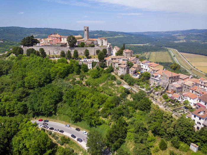 Aerial view of motovun, a hilltop town in istria, croatia