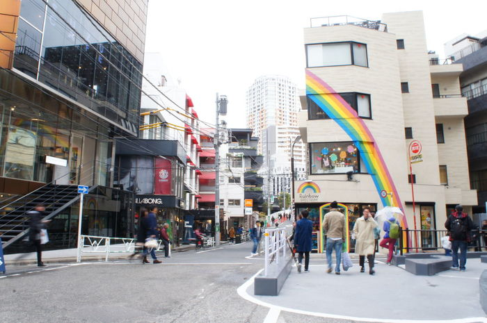 Building Exterior Architecture City City Life Day Store Outdoors Rainbow Colours Rainbow <3 Travel In Japan Explore Built Structure People Large Group Of People Adult Adults Only