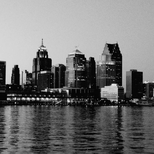 Detroit DetroitRiverWater Across The River Across The Border B&w Blackandwhite Photography Buildings Downtown Downtown Detroit Black And White Collection  The Architect - 2016 EyeEm Awards