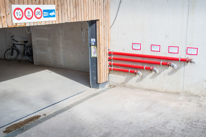 Fire Brigade Station Garage Pipes Red Safety Signs Tube Tubes Underground Garage