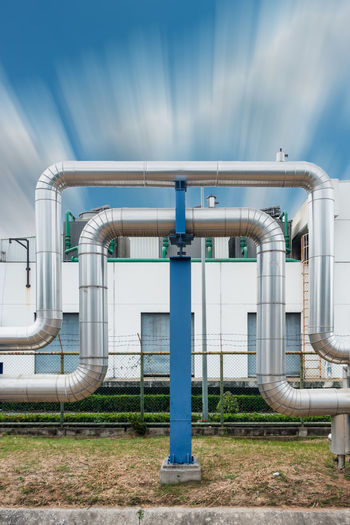 Steam pipelines Business Distribution Industrial Industry Liquid Transmission Line Architecture Built Structure Day Factories Factory Industry Manufacturing Metal Omega Loop Outdoors Pipe - Tube Pipe Support Pipeline Product Sky Steam Pipes Technology Transfer Tube
