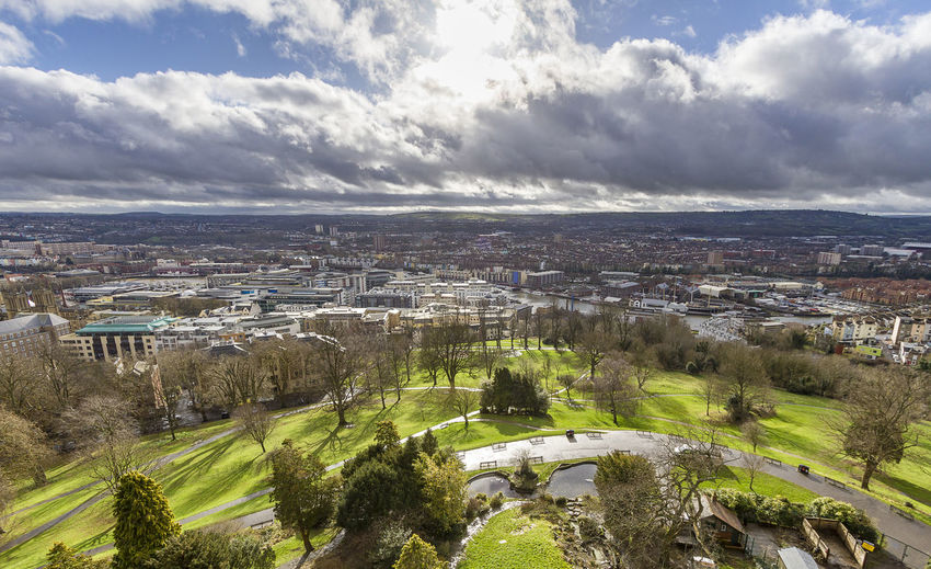 High view of Bristol on Brandon hill. Bristol, England Green Trees Architecture Backgrounds Beauty In Nature Brandon Hill Building Exterior Cityscape Cloud - Sky Day High Angle View Landscape Mountain Nature No People Outdoors Scenics Sky Sunrise Tranquil Scene Tranquility Tree First Eyeem Photo