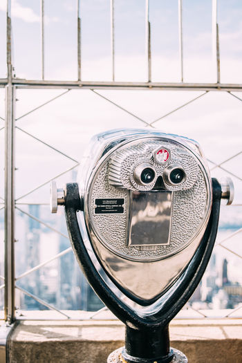 City Binoculars Coin Operated Close-up Metal Empire State Building Outdoors Travel Telescope