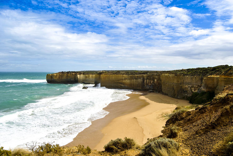 Beach Beauty In Nature Cliff Cloud - Sky Day Horizon Over Water Nature No People Outdoors Rock - Object Sand Scenics Sea Sky Tranquil Scene Travel Destinations Water Wave Lost In The Landscape