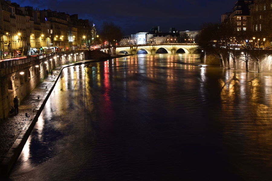 Paris River Seine Nightphotography Night Bridge - Man Made Structure Illuminated Reflection Architecture River Arch Built Structure Water City Travel Destinations Cityscape Outdoors Nightlife People