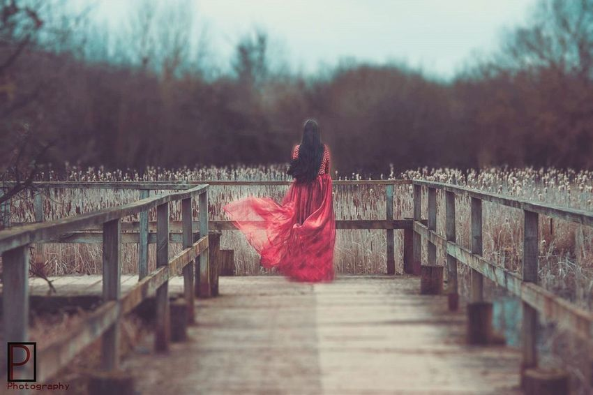 Red Outdoors Nature Women Autumn My Year In View solitude Wind