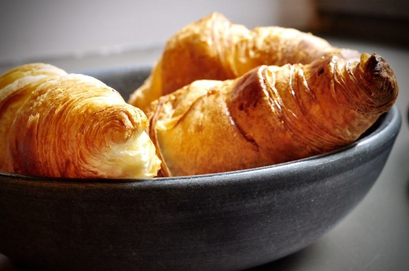 Close-up of croissants in bowl