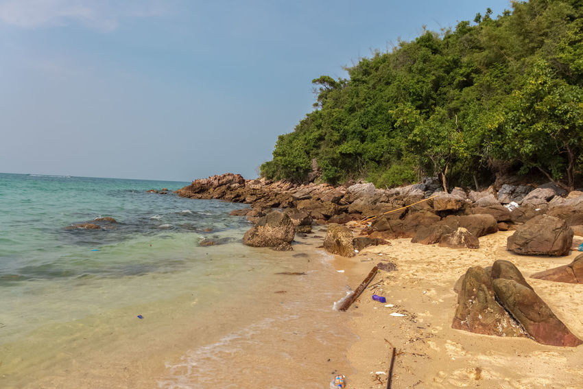 the beach of Koh Lark ASIA Thailand Adventure Beach Beauty In Nature Clear Sky Day Full Length Horizon Over Water Koh Larn Leisure Activity Nature Outdoors Rock - Object Sand Scenics Sea Sky Tree Water