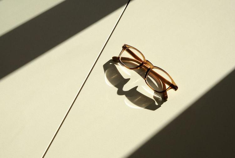 Close-up of eyeglasses in sunlight