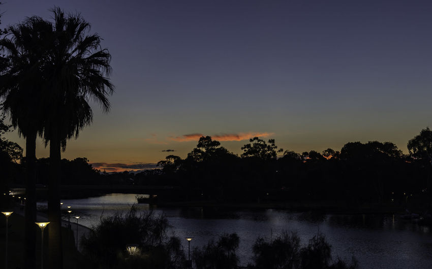 Sunset in Adelaide beside the River Torrens Adelaide, South Australia Riverside Beauty In Nature Evening Sky Idyllic Lake Nature No People Outdoors Palm Tree Plant Reflection River Torrens Scenics - Nature Silhouette Sky Sunset Sunsets Tranquil Scene Tranquility Tree Water