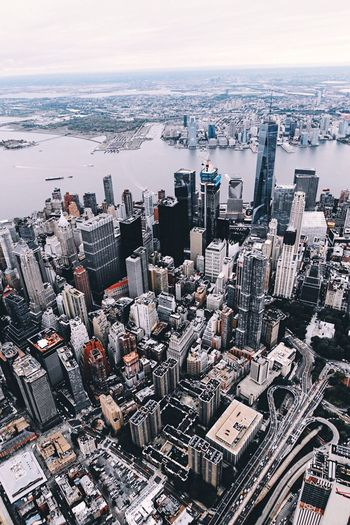 High angle view of new york cityscape