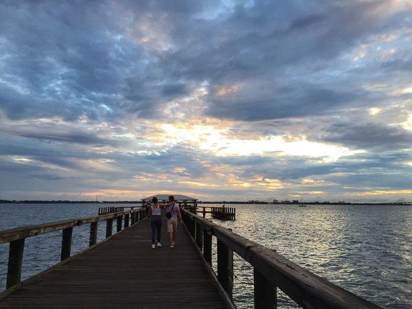 Sunset on Melbourne Beach Pier Melbourne Beach, FL Indian River Indian River Lagoon Melbourne Beach Pier Pier At Sunset Storm Clouds Florida Sunset Fishing Pier Cloud And Sky