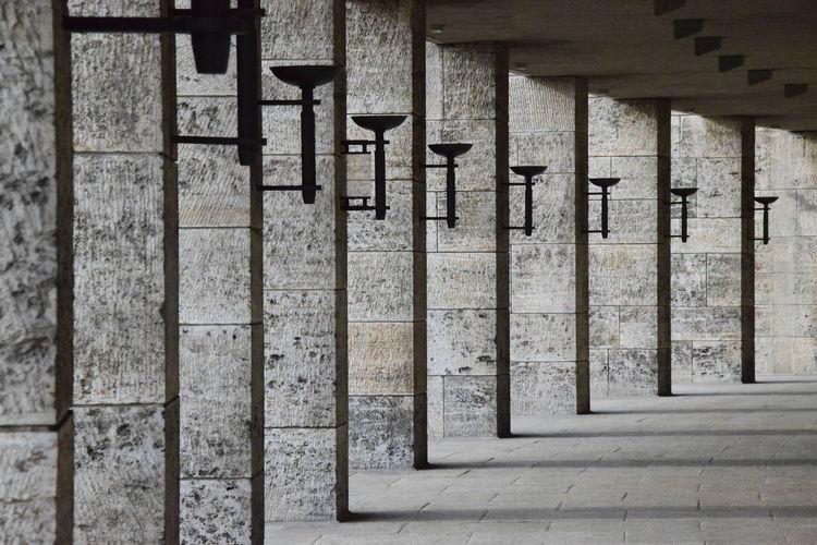 Colonnade in corridor at olympiastadion berlin