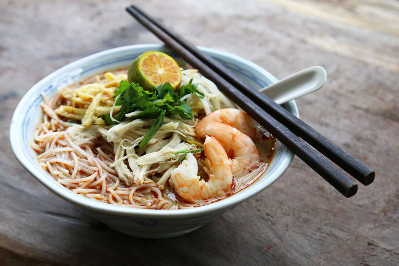 Sarawak Laksa, a spicy noodle dish famous and unique to the state of Sarawak in Malaysia. ASIA Curry Delicious Famous Food Hawker Laksa Local Malaysia Malaysian Mee Noodles Popular Rice Sarawak Sarawakian Spice Spices Street Tasty Vermicelli