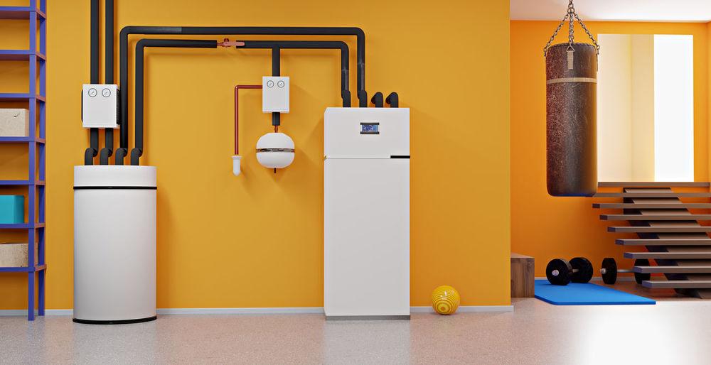 Yellow door of building