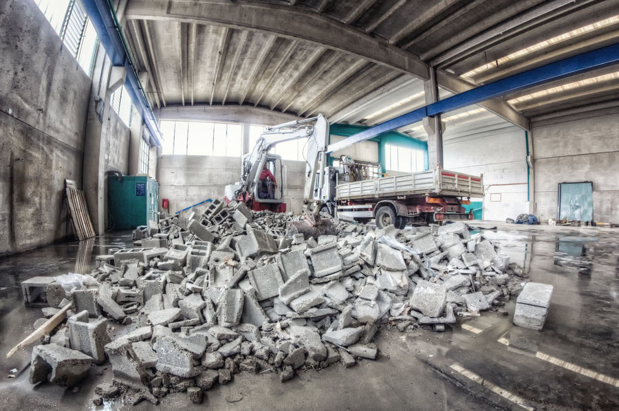 HDR Aluminum Car Plant Concrete Factory Garbage Indoors  Industry Metal Recycling Center Scrap Metal