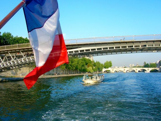 Adult Architecture Bridge Bridge - Man Made Structure Clear Sky Close-up Day Flag France French Flag Nautical Vessel One Person Outdoors Paris Patriotism People River Sky Transportation Water