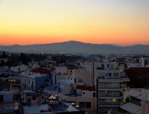 Athens sunset. Athens Greece Architecture Athens Building Building Exterior Built Structure City Cityscape Clear Sky Copy Space Crowd Crowded High Angle View Mountain Nature Night View Night View Of City Orange Color Outdoors Residential District Romantic Sky Settlement Sky Sunset TOWNSCAPE HUAWEI Photo Award: After Dark