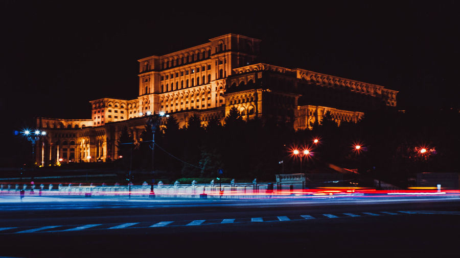 Illuminated Night Architecture Built Structure City Long Exposure Motion Street Building Exterior Light Trail Road Blurred Motion Transportation Speed Travel Destinations No People City Street History Nature Outdoors Palace Of Parliament Bucharest Romania