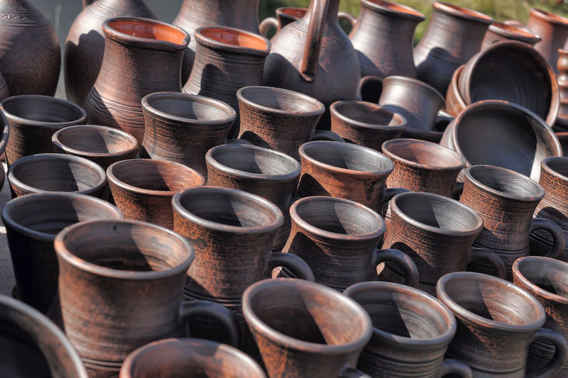 Full frame shot of potteries for sale at market