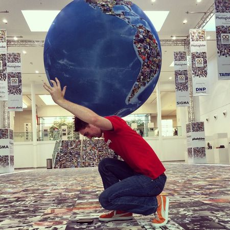 Fun with Forced Perspective and the giant Globe at Photokina2014