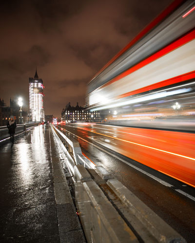 Long exposure of a double decker bus in London. London Architecture Blurred Motion Building Building Exterior Built Structure Bus City Doubledecker England Illuminated Light Trail Long Exposure Mode Of Transportation Motion Night Outdoors Public Transportation Sky Speed Transportation Travel Travel Destinations #urbanana: The Urban Playground