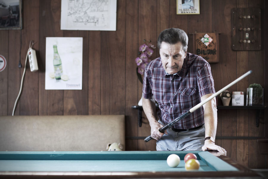 Bar Beer Belgium Cafe Casual Clothing Close-up Front View Game Indoors  Interior Lifestyles Old Person Pool Pooltable Portrait Pub Real People Sport Wall
