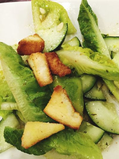 You need to eat some greens. Vegetables Greenleaflettuce Lettuce Croutons Cucumber Salad Simple Things Green Tomatoes French Dressing