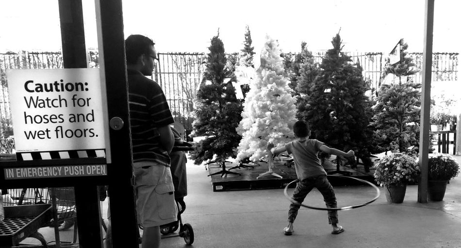 Walmart Garden Center Christmas Trees Christmas Having Fun Hula Hooping  Child Father & Son Monochrome Blackandwhite