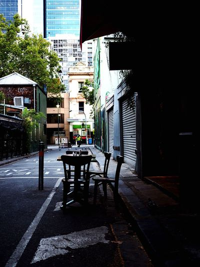 Outside table Architecture City Building Exterior Built Structure Street Day Building Footpath No People Sunlight Outdoors Shadow Seat Sidewalk Table The Way Forward