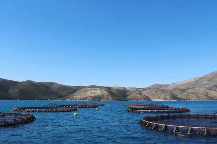 Fishfarm Water Sky Nautical Vessel Mountain Clear Sky Blue Transportation Tranquil Scene Beauty In Nature Mountain Range No People Mode Of Transportation Moored Nature Outdoors Architecture Scenics - Nature Day Copy Space Tranquility