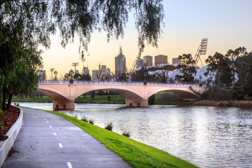 An empty cycle path with a bridge and CBD in the background Arch Arch Bridge Architecture Bridge Bridge - Man Made Structure Building Building Exterior Built Structure City Clear Sky Connection Nature No People Office Building Exterior Outdoors Plant River Sky Skyscraper Transportation Tree Water