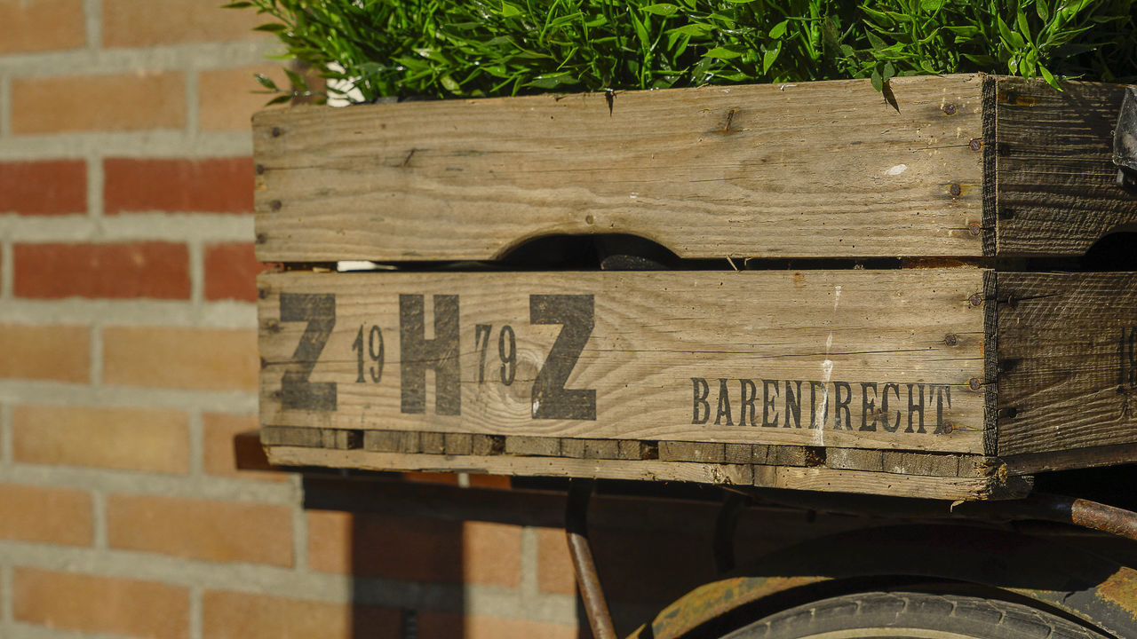 CLOSE-UP OF TEXT ON WOOD AGAINST BRICK WALL