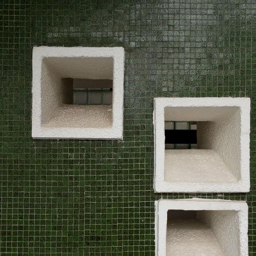 Architecture Building Building Exterior Built Structure Design Geometric Shape Green Color Minimalism No People Pattern Rectangle Square Shape Tiles Wall - Building Feature Window