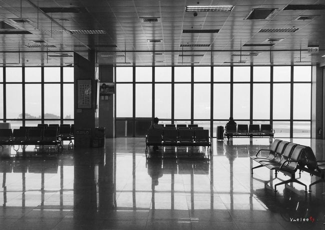 Taking Photos IPhone Iphonephotography IPhoneography Monochrome Blackandwhite Black And White Reflection Waiting Airport In The Terminal Kinmen
