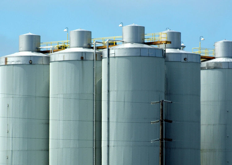Built Structure Clear Sky Day Factory Grain Silos Industrial Building  Industry Moosehead Breweries No People Outdoors Silo Sky Storage Tank Technology