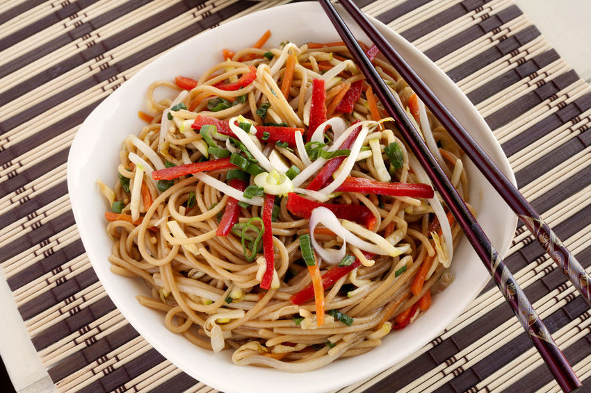 Chow Mein. Asian Style Food Carrots Chopsticks Chow Mein Close-up Food Food And Drink Freshness Healthy Eating Healthy Food Indoors  Natural Light No People Noodles Oriental Food  Plate Ready-to-eat Red Peppers Sauteed Serving Size Soy Sauce Soybean Sprouts Spaghetti Spaghetti Vegetables