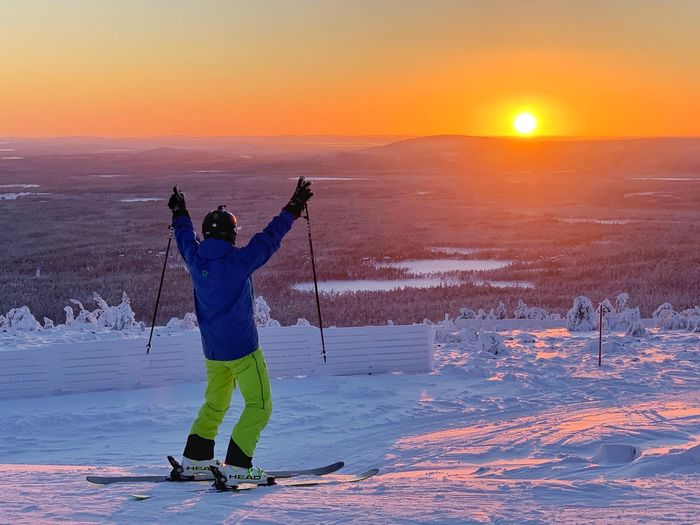 Sun rise Snow Sun Rise Winter Lapland, Finland Alpine Skiing Winter Sunset Sky Snow Cold Temperature Sport Water Winter Sport Nature Orange Color Leisure Activity Beauty In Nature Men Holiday Standing People