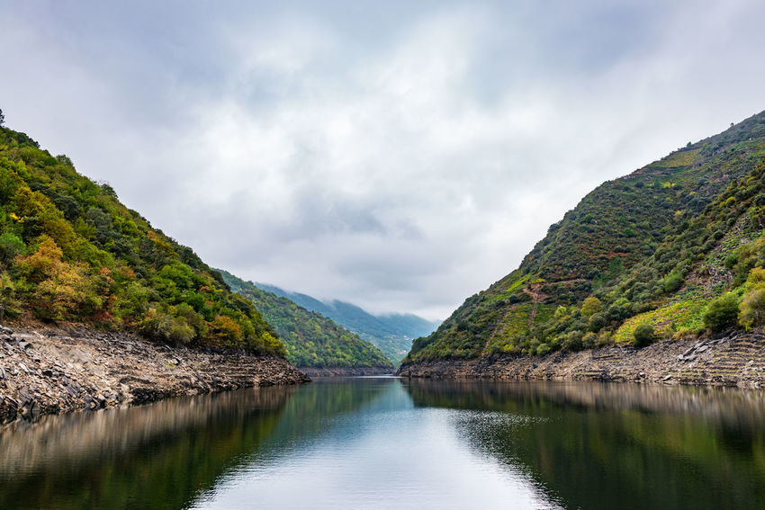 Sil river in the Ribeira Sacra in Galicia Galicia SPAIN Beauty In Nature Cloud - Sky Day Idyllic Lake Landscape Mountain Mountain Range Nature No People Non-urban Scene Ourense Outdoors Reflection Ribeira Sacra Riverbank Scenics Sil River Sky Tranquil Scene Tranquility Water Waterfront