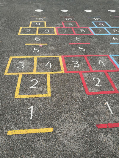 Playground, high angle view of text on ground
